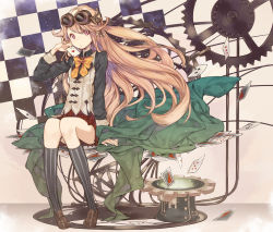 brown_hair card chiko_(mizuho) goggles goggles_on_head hat original ribbon top_hat vest
