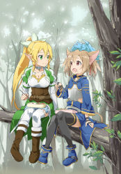 2girls animal_ears animal_on_head blonde_hair braid brown_hair cat_ears delf green_eyes head_wreath leafa long_hair multiple_girls obentou pina_(sao) pointy_ears ponytail red_eyes short_hair silica silica_(sao-alo) sitting sword_art_online thighhighs twin_braids twintails