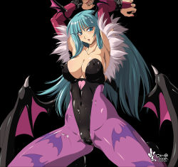armpits arms_up bare_shoulders bat_wings bdsm blush bondage breasts bridal_gauntlets cameltoe capcom chains cleavage cuffs cum cum_on_clothes cum_on_hair demon_girl elbow_gloves erect_nipples facial gloves green_eyes green_hair head_wings kneeling latex leotard long_hair morrigan_aensland nail_polish nyanko_batake pantyhose shackle skin_tight solo spandex succubus vampire_(game) wings