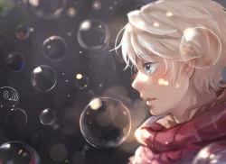 1boy aldnoah.zero blue_eyes bubble highres open_mouth scarf short_hair silver_hair slaine_troyard