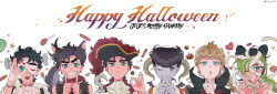 1girl 5boys animal_ears bandaged_fingers bandaged_head bat_wings black_hair blonde_hair braid candy chocolate collar copyright_name double_bun fangs finger_to_mouth giorno_giovanna green_hair grin happy_halloween hat heart higashikata_jousuke hook_hand horns jojo_no_kimyou_na_bouken jonathan_joestar joseph_joestar_(young) kuujou_jolyne kuujou_joutarou lollipop mapi_(mup1228) multicolored_hair multiple_boys nail_polish one_eye_closed open_mouth pirate_hat pompadour pumpkin purple_skin red_nails sheep_horns smile spiked_collar spikes stitches tail twitter_username two-tone_hair werewolf wings wolf_ears wolf_tail