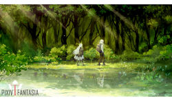 1boy 1girl asllence forest full_body grass hands_in_pockets lake long_hair nature pixiv_fantasia pixiv_fantasia_t reflection rucksack tree very_long_hair walking white_hair