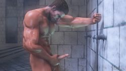 1boy abs animated animated_gif bara bathroom brown_hair chris_redfield erection eyes_closed facial_hair male_focus masturbation muscle nipples nude pecs penis resident_evil shower solo source_filmmaker steam testicles uncensored