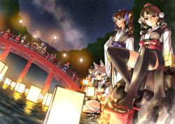 6+girls abo_(hechouchou) animal_ears black_hair bridge brown_hair hakurei_reimu hat himekaidou_hatate inubashiri_momiji kagiyama_hina kirisame_marisa kourindou_tengu_costume long_hair lord_tenma moriya_suwako multiple_girls onozuka_komachi pointy_ears red_eyes ribbon river shameimaru_aya short_hair sitting tail tokin_hat touhou twintails water white_hair wolf_ears wolf_tail yasaka_kanako