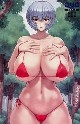 1girl alternate_breast_size ayanami_rei bikini blue_hair breasts curvy huge_breasts lowres mogudan neon_genesis_evangelion red_eyes short_hair skindentation solo swimsuit thick_thighs thighs