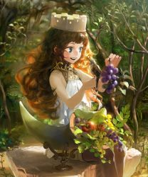 1girl attall blue_eyes brown_hair cornucopia dress food forest fruit goddess grapes highres jewelry long long_hair nature open_mouth shingoku_no_valhalla_gate smile solo tagme