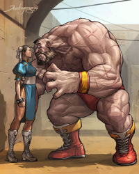 1boy 1girl beard bracelet brown_hair bun_cover chest_hair china_dress chinese_clothes chun-li double_bun faceoff facial_hair full_body height_difference highres jee-hyung_lee jewelry mohawk muscle pantyhose sash sheer_legwear shirtless short_hair side_slit size_difference source_request spiked_bracelet spikes standing street_fighter swim_briefs veins zangief