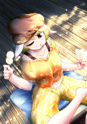 0-den 1girl absurdres animal_ears blonde_hair bunny_ears collarbone dango dutch_angle eating food from_above hat highres looking_at_viewer looking_up midriff navel one_eye_closed red_eyes ringo_(touhou) shirt short_hair short_sleeves shorts sitting smile solo striped touhou wagashi