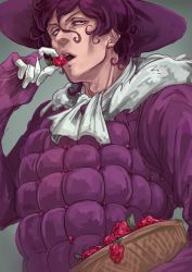 1boy basket cafemoka-septro curly_hair food fruit gloves hat holding jojo_no_kimyou_na_bouken magenta_magenta male_focus open_mouth purple_hair raspberry solo steel_ball_run upper_body
