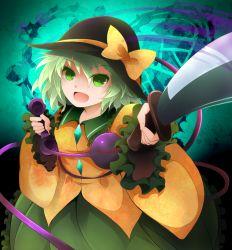 1girl arano_oki bow green_eyes green_hair hat hat_bow knife komeiji_koishi open_mouth phone sash short_hair solo third_eye touhou