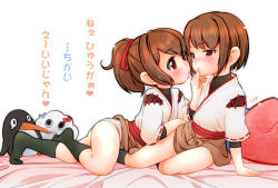 2girls arm_support artist_name bed black_legwear blush brown_hair chin_grab failure_penguin hyuuga_(kantai_collection) ise_(kantai_collection) japanese_clothes kantai_collection lee_(colt) lips lying miss_cloud multiple_girls on_stomach panties pillow ponytail red_eyes short_hair simple_background sitting skirt translation_request underwear white_background white_panties yokozuwari younger yuri