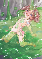 1girl blush bow clitoris defeated hair_bow loli nipples open_mouth pussy saliva shiny shiny_hair slime small_breasts tears torn_clothes twintails umimaru uncensored
