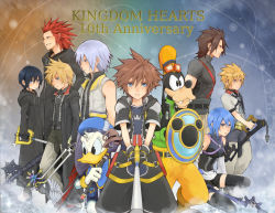 2girls 6+boys alternate_hairstyle aqua_(kingdom_hearts) axel axel_(kingdom_hearts) black_hair black_legwear blonde_hair blue_eyes blue_hair brown_hair bunta01 chain_necklace detached_sleeves disney donald_duck dual_wielding goofy green_eyes hakama japanese_clothes keyblade kingdom_hearts kingdom_hearts_358/2_days kingdom_hearts_birth_by_sleep multiple_boys multiple_girls red_hair riku roxas shield short_hair silver_hair sora_(kingdom_hearts) staff terra_(kingdom_hearts) thighhighs ventus xion_(kingdom_hearts)