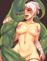 1girl bandaged_arm breasts large_breasts league_of_legends monster_boy navel nipples nude open_mouth riven_(league_of_legends) short_hair sieyarelow tongue tongue_out white_hair yellow_eyes zac