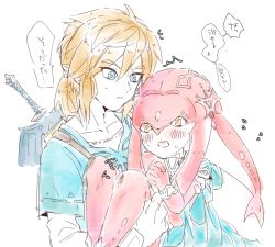 /\/\/\ 1boy 1girl bangs blonde_hair blue_eyes blue_shirt blush bracer carrying collarbone diamond_(shape) fins fish_girl flying_sweatdrops hair_between_eyes hair_ornament hands_clasped interlocked_fingers konagona link lips long_hair long_sleeves mipha monster_girl multicolored multicolored_skin no_eyebrows no_nose open_mouth orange_eyes pointy_ears princess princess_carry red_hair red_skin sheath sheathed shirt short_hair short_ponytail short_sleeves simple_background speech_bubble strap sweat sword teeth text the_legend_of_zelda the_legend_of_zelda:_breath_of_the_wild translation_request undershirt weapon white_background white_shirt white_skin zora