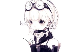 1girl bangs brown brown_eyes character_request copyright_request gas_mask goggles goggles_on_head looking_to_the_side monochrome payot riuichi simple_background sketch solo tagme upper_body white white_background white_hair