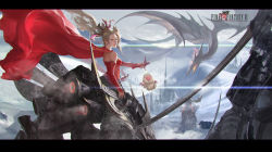 1girl blonde_hair blue_eyes bow cape dragon earrings final_fantasy final_fantasy_vi hair_bow jewelry long_hair looking_at_viewer moogle ponytail solo_focus sword tina_branford weapon