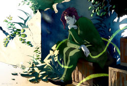 box chin_rest earrings gakuran hierophant_green jewelry jojo_no_kimyou_na_bouken kakyouin_noriaki looking_down overgrown plant red_hair school_uniform sitting sitting_on_object stand_(jojo) wooden_box yodo