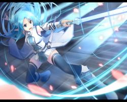 1girl asuna_(sao) asuna_(sao-alo) blue_eyes blue_hair boots detached_sleeves highres long_hair pointy_ears simple_background solo sword sword_art_online thighhighs weapon