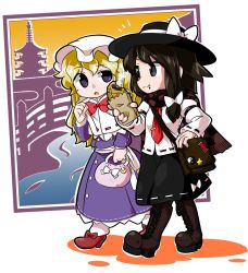 2girls armband badge bag black_eyes black_skirt blonde_hair boots bow bridge brown_eyes brown_hair byourou capelet crescent_moon dress eating food handbag hat hat_bow knee_boots long_hair long_sleeves looking_at_another maribel_hearn moon multiple_girls necktie pagoda pantyhose pointing purple_dress purple_eyes scarf shoes shoulder_bag silhouette skirt star steam stream taiyaki touhou usami_renko wagashi yin_yang