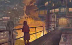 1girl airship blimp boots bridge city cityscape dirigible dress fantasy hood kaitan lantern light original pantyhose paper_lantern railing scenery sliding_doors smoke