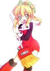 1girl :d blonde_hair blush boots broom buttons frills hair_ribbon long_hair long_sleeves open_mouth payot ponytail puffy_long_sleeves puffy_sleeves reeichi ribbon rockman rockman_(classic) roll smile solo