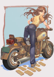 1girl ass blue_background brown_eyes brown_hair denim gloves grey_background ground_vehicle highres jeans light_smile long_hair looking_at_viewer looking_back motor_vehicle motorcycle no_lineart one_leg_raised original pants ren_keke shadow shirt shoes short_sleeves solo yellow_shirt