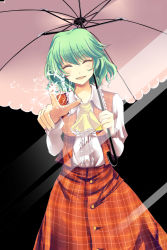 1girl :d ^_^ absurdres ascot blush broken_glass dress_shirt eyes_closed fourth_wall glass green_hair highres holding holding_umbrella katsuko_(tohyarei) kazami_yuuka long_sleeves looking_at_viewer open_clothes open_mouth open_vest plaid plaid_skirt plaid_vest shirt skirt skirt_set smile solo touhou umbrella vest