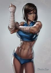 1girl abs artist_name avatar_(series) bandaid bangs blue_eyes breasts brown_hair cowboy_shot dandon_fuga dark_skin female grey_background highres korra large_breasts legs looking_away muscle navel posing raised_eyebrows serious shiny shiny_skin short_hair simple_background solo standing the_legend_of_korra thighs web_address