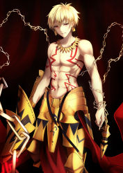 1boy abs armor blonde_hair chains ea_(fate/stay_night) earrings fate/stay_night fate_(series) faulds gilgamesh glowing glowing_weapon gold_armor highres jewelry looking_at_viewer male_focus navel red_eyes shiguru smirk solo tattoo toned toned_male topless weapon