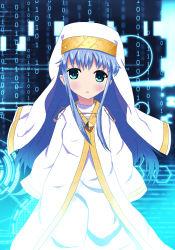 1girl blue_hair green_eyes habit highres index long_hair nun riongki robe safety_pin to_aru_majutsu_no_index