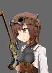 1girl adapted_costume black_gloves bow_(weapon) brown_eyes brown_hair bust crossbow female gears gloves goggles goggles_on_head grey_background highres jacket kantai_collection profile scope short_hair simple_background solo steampunk sudo_shinren taihou_(kantai_collection) weapon