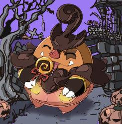 candy fangs halloween jack-o'-lantern licking lollipop no_humans pignite pokemon pokemon_(game) pokemon_bw pokemon_xy pumpkaboo pumpkaboo_(cosplay) saliva solo tongue tongue_out