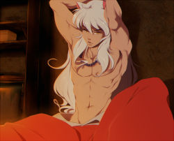 1boy adonis_belt animal_ears armpits arms_up bead_necklace beads box inuyasha inuyasha_(character) jewelry lips long_hair navel necklace nipples shelf shirtless solo sticky_(stickysheep) very_long_hair white_hair yellow_eyes