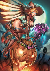 2girls aiming_at_viewer alternate_costume arm_cannon aura blonde_hair candy glowing_eyes halloween jack-o'-lantern mercy_(overwatch) moon multiple_girls night overwatch pharah_(overwatch) possessed_pharah reiq smile witch_mercy