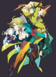 7th_dragon_(series) 7th_dragon_2020 blue_eyes breasts cleavage gloves green_hair highres nishihara_isao psychic_(7th_dragon) trickster_(7th_dragon)