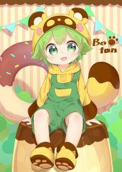 1boy :3 animal_ears animal_hat doughnut food green_eyes green_hair hat highres hood hoodie nipeira original overalls paw_print raccoon_hat raccoon_tail solo tail