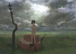2girls black_eyes black_hair cameltoe cloud cloudy_sky couch eyes_closed flat_chest grass highres lamppost loli long_hair lying miyako_(naotsugu) multiple_girls nipples nude on_back open_mouth original outdoors pussy short_hair sky smile