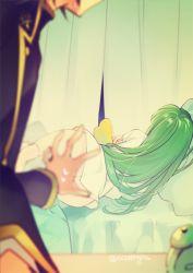 ass black_hair bottomless c.c. code_geass creayus green_hair lelouch_lamperouge sleeping