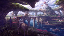 1boy 1girl arch bird boots bride bridge brown_hair building castle cloud cloudy_sky equestrian fantasy flower flying forest head_scarf horse horseback_riding long_hair mountain nature noba on_ground outdoors pants path people ponytail riding river road robe scenery sitting sky stairs standing tree