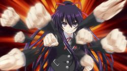 1girl animated animated_gif date_a_live long_hair punch purple_eyes purple_hair school_uniform solo yatogami_tooka
