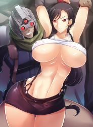 1boy 1girl armpits arms_up black_hair blush breasts commentary curvy earrings elbow_gloves elbow_pads erect_nipples final_fantasy final_fantasy_vii gloves goggles grin groin haganef helmet huge_breasts imminent_rape jewelry long_hair low-tied_long_hair midriff navel nose_blush pencil_skirt red_eyes shirt shirt_lift skirt smile suspender_skirt suspenders tank_top tifa_lockhart tsurime underwear white_shirt wide_hips
