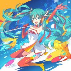 1girl :d alternate_costume aqua_eyes aqua_hair arm_up armpits bare_shoulders boots choker elbow_gloves gloves goodsmile_racing gradient_hair hair_ribbon hatsune_miku long_hair looking_at_viewer multicolored_hair open_mouth race_queen red_gloves red_legwear red_ribbon ribbon smile solo star thigh_boots thighhighs twintails vocaloid yaeko