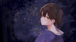 1girl brown_eyes brown_hair bush commentary_request expressionless fireworks floral_print flower fukuroumori hair_between_eyes hair_flower hair_ornament highres japanese_clothes kaga_(kantai_collection) kantai_collection kimono looking_at_viewer nape night night_sky short_hair side_ponytail sky solo sweat sweatdrop tree yukata