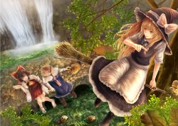 3girls alice_margatroid apron armband ascot bamboo_broom bird black_dress black_legwear black_shoes blonde_hair blue_dress blurry boots bow breasts bridge broom broom_riding brown_hair capelet commentary_request depth_of_field detached_sleeves dress flying frilled_bow frilled_hat frills from_above hair_bow hair_over_shoulder hair_tubes hairband hakurei_reimu hand_up hat hat_bow kirisame_marisa kisuke1212 knees knees_together_feet_apart long_hair long_sleeves looking_at_another looking_down looking_to_the_side looking_up multiple_girls nature neck path peaceful petting pointing raccoon red_eyes red_skirt ribbon ribbon-trimmed_sleeves ribbon_trim road shoes short_hair skirt sleeveless sleeveless_dress smile socks sparrow stone stone_wall stream sunlight tabi talking teeth touhou tree tree_branch very_long_hair wall water white_legwear witch_hat yellow_eyes zouri