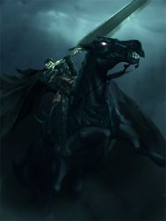 1boy alba berserk black_hair dragonslayer_(sword) guts hakusensha highlights horse huge_weapon multicolored_hair riding short_hair solo sword tagme weapon