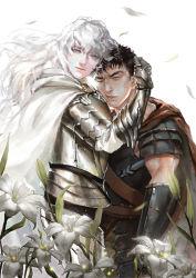 2boys armor aruolrn berserk black_hair blue_eyes brown_eyes cape flower griffith guts lily_(flower) long_hair multiple_boys short_hair white_background white_hair