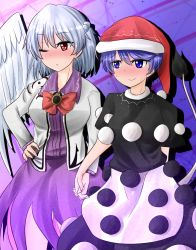 2girls :> :/ arm_behind_back blue_hair blush bow bowtie braid doremy_sweet dress full-face_blush gradient gradient_background hand_holding hand_on_hip hat highres interlocked_fingers jacket kishin_sagume layered_dress long_sleeves looking_to_the_side multiple_girls nightcap one_eye_closed open_clothes open_jacket oshiaki pom_pom_(clothes) purple_dress red_eyes short_hair short_sleeves silver_hair single_wing sweat tail touhou wings yuri
