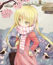 1girl bird blonde_hair branch fang_xue_jun green_eyes hand_on_hip hayate_no_gotoku! hips holding long_hair sanzen'in_nagi scarf scarf_over_mouth school_uniform solo striped striped_scarf twintails