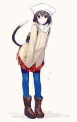 1girl animal_hat asahikawa_hiyori backpack bag bangs beige_background blue_legwear boots brown_boots brown_eyes brown_hair cat_girl cat_hat cat_tail closed_mouth duffel_coat eyebrows_visible_through_hair full_body hair_between_eyes hands_in_pockets hat leaning_forward looking_at_viewer matching_hair/eyes original pantyhose plaid plaid_skirt pleated_skirt red_skirt short_hair skirt solo standing tail